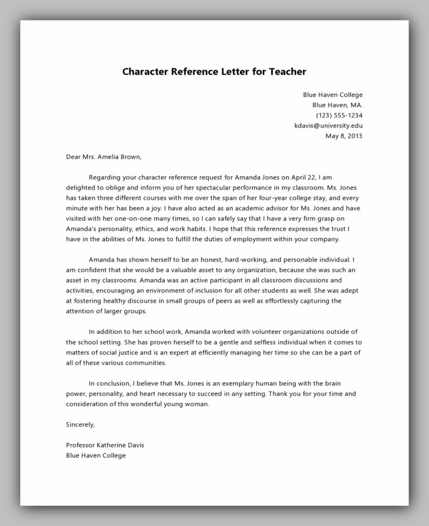 Character Reference Letter for Teacher