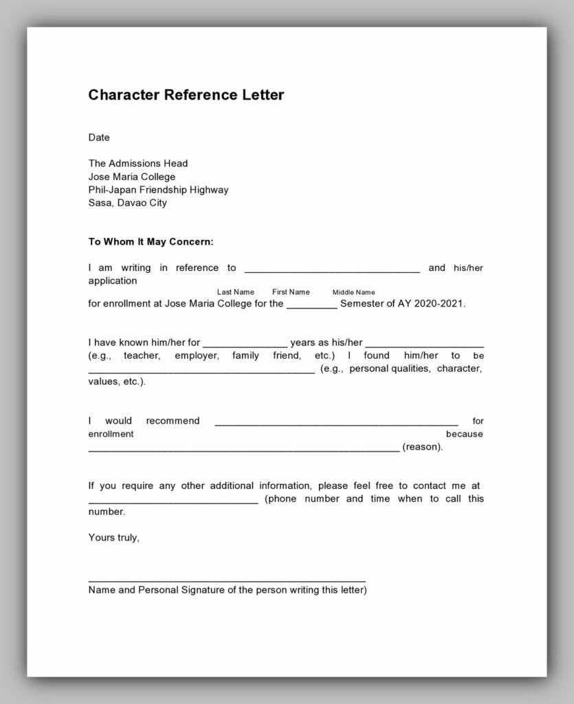 character reference letter 21