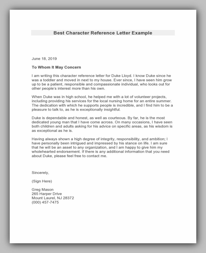 Best Character Reference Letter Example