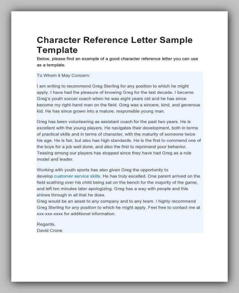 Character Reference Letter Sample Template