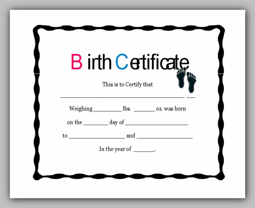 Birth Certificate Template 06