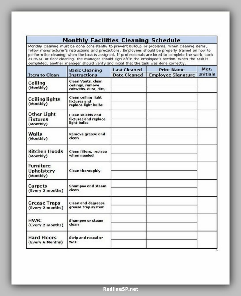 Restaurant Cleaning Schedule
