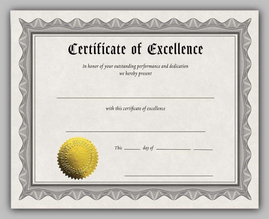 Award Certificate Example