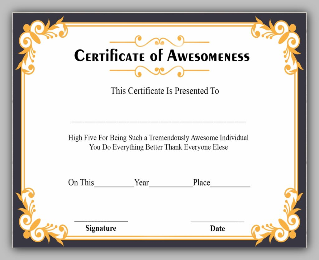 Award Certificate of Awesome