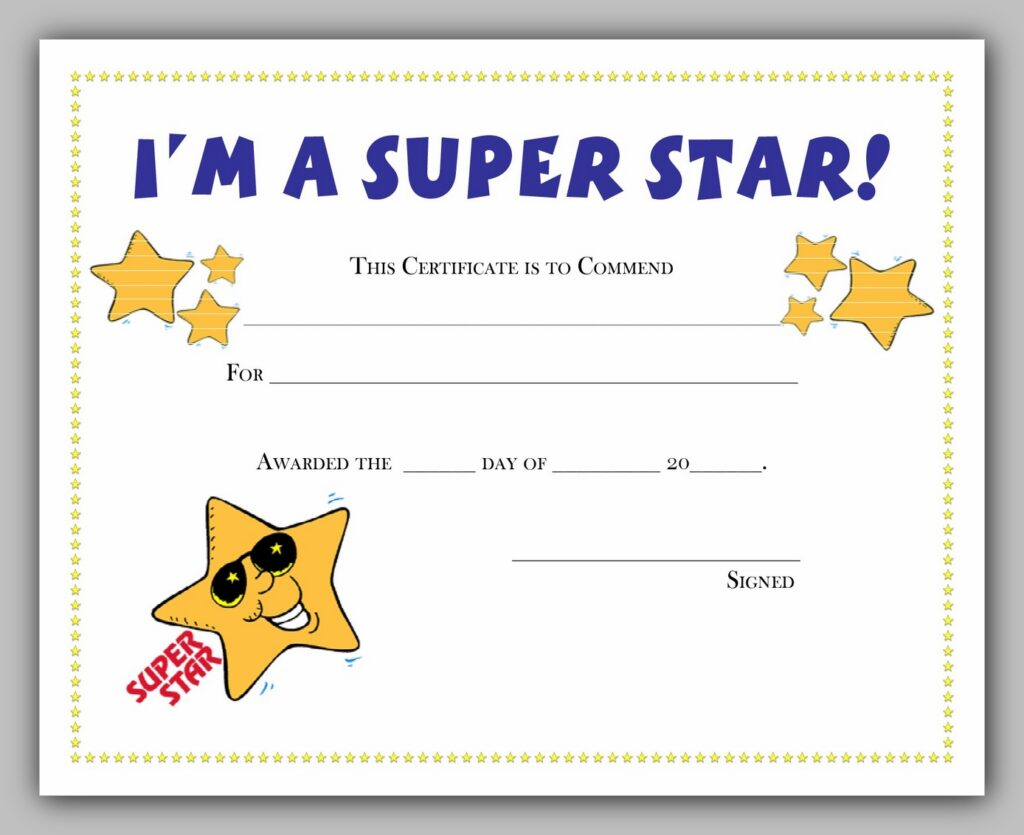 Superstar Award Certificate Template