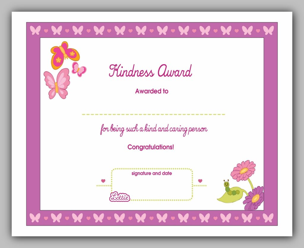 Kindness Award Certificate