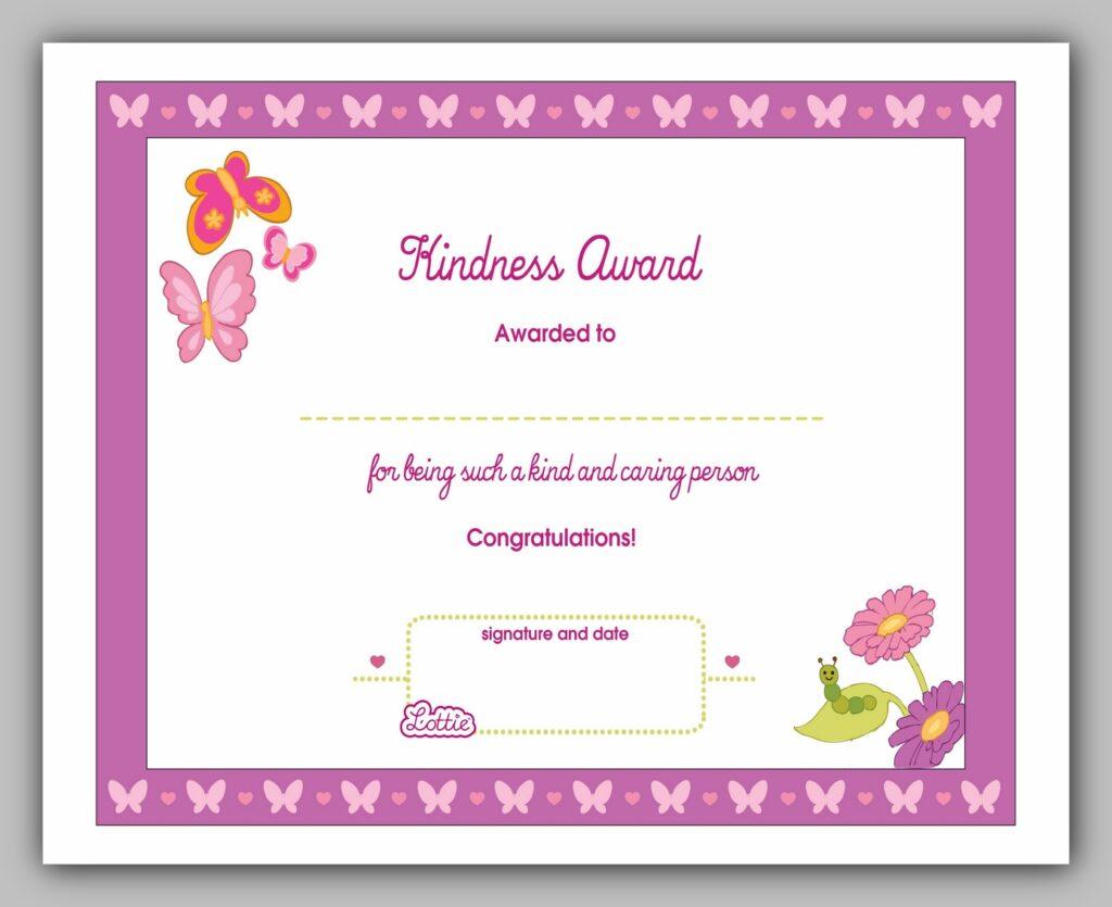 Kindness Award Certificate
