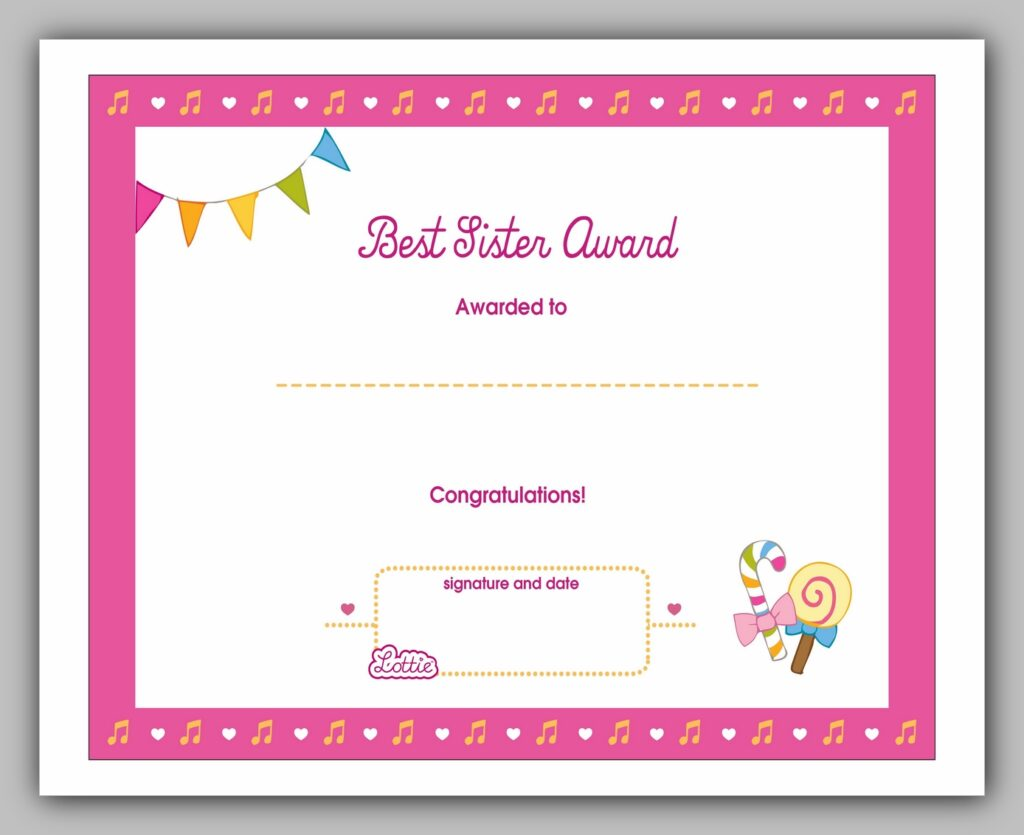 Best Sister Award Certificate