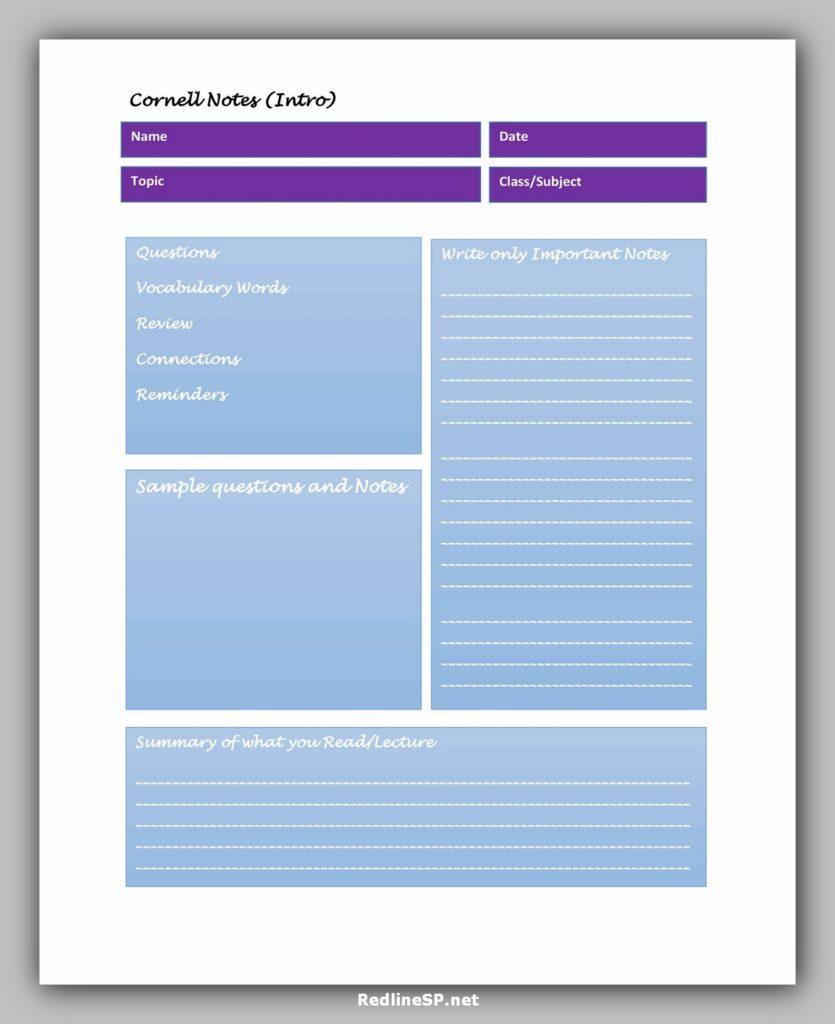 cornell note template 04