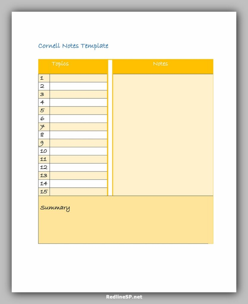 Cornell Notes Template PDF