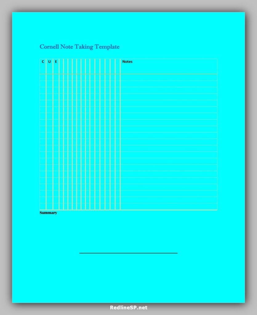 cornell note template 13