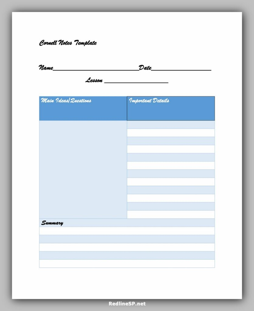 cornell note template 14