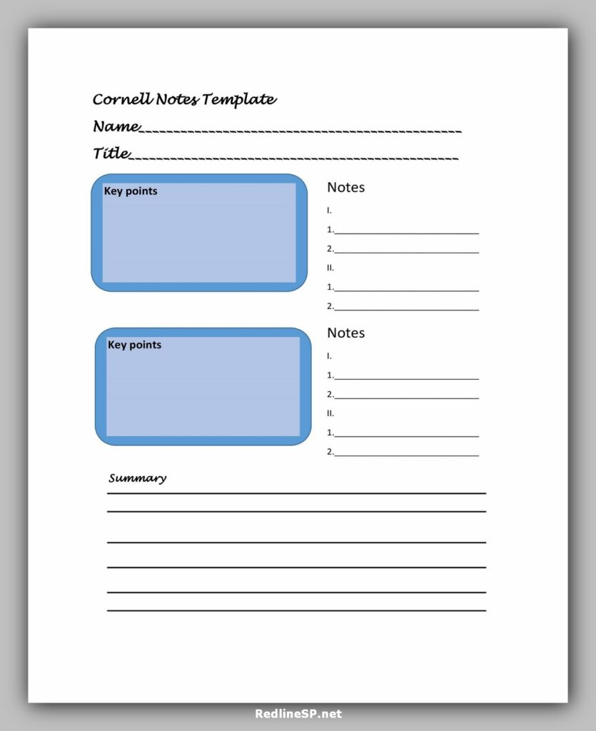 cornell note template 15