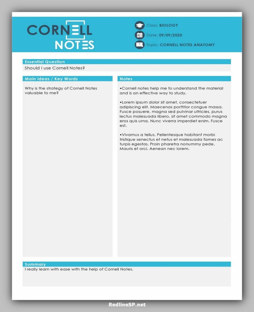 cornell note template 17