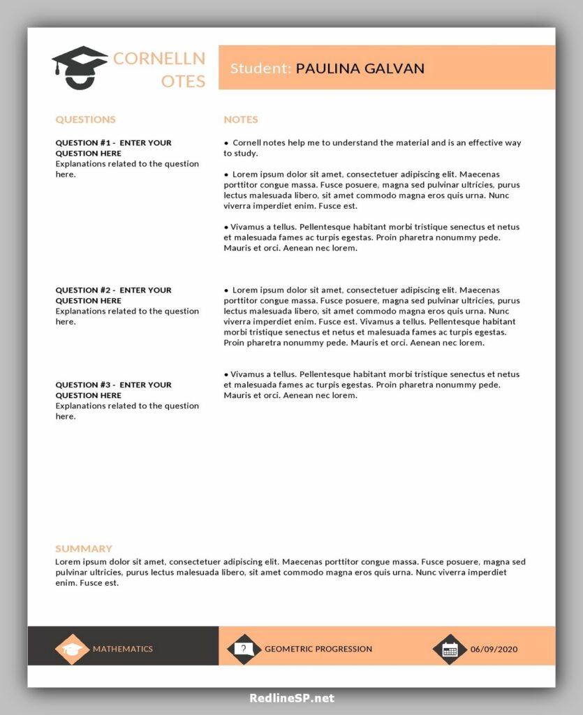 cornell note template 19
