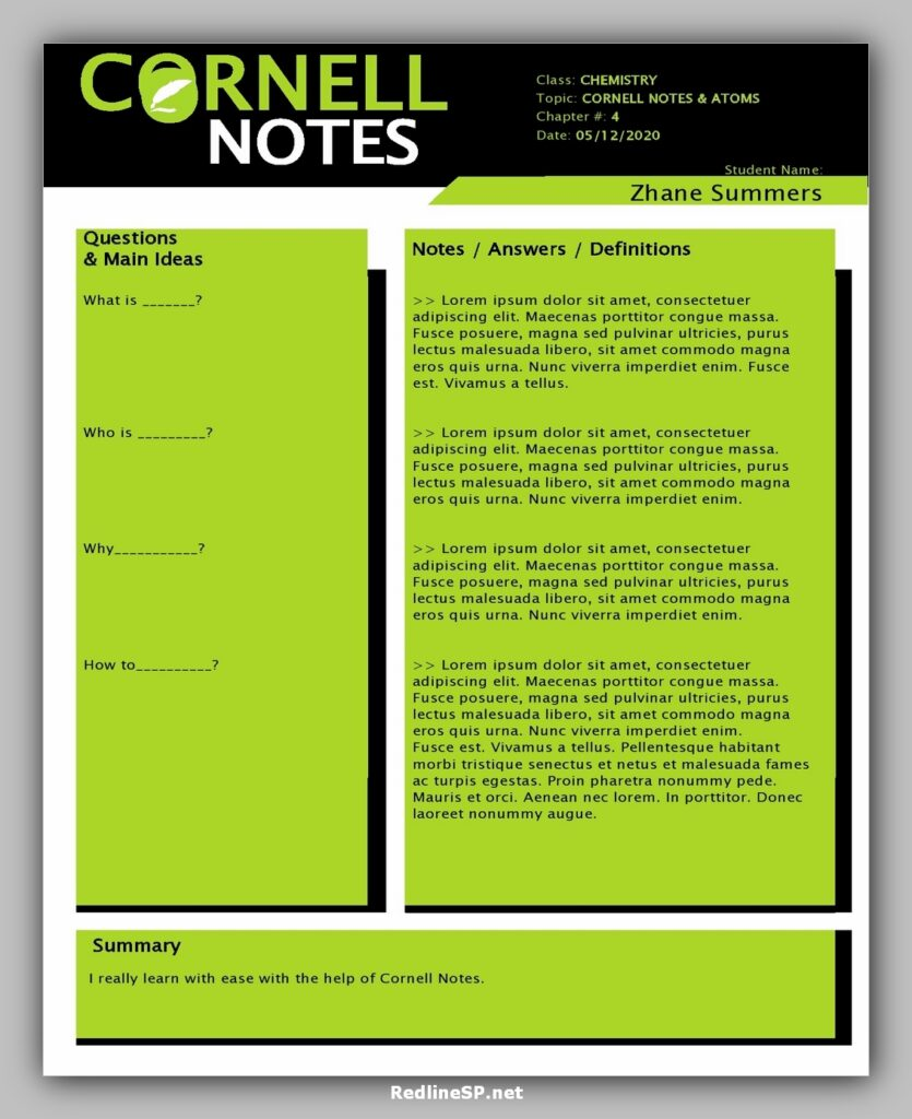 cornell note template 21