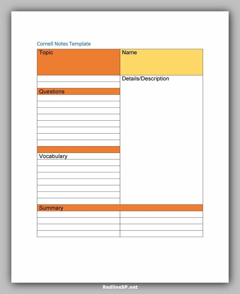 cornell note template 28