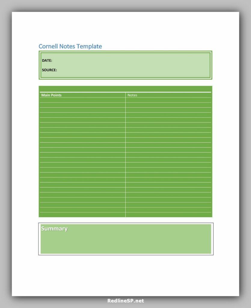 cornell note template 34