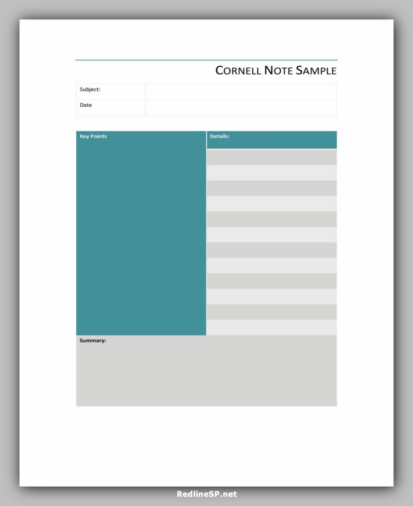 cornell note template 35