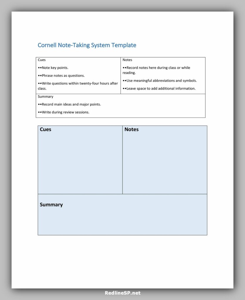 Cornell Notes Taking System Template