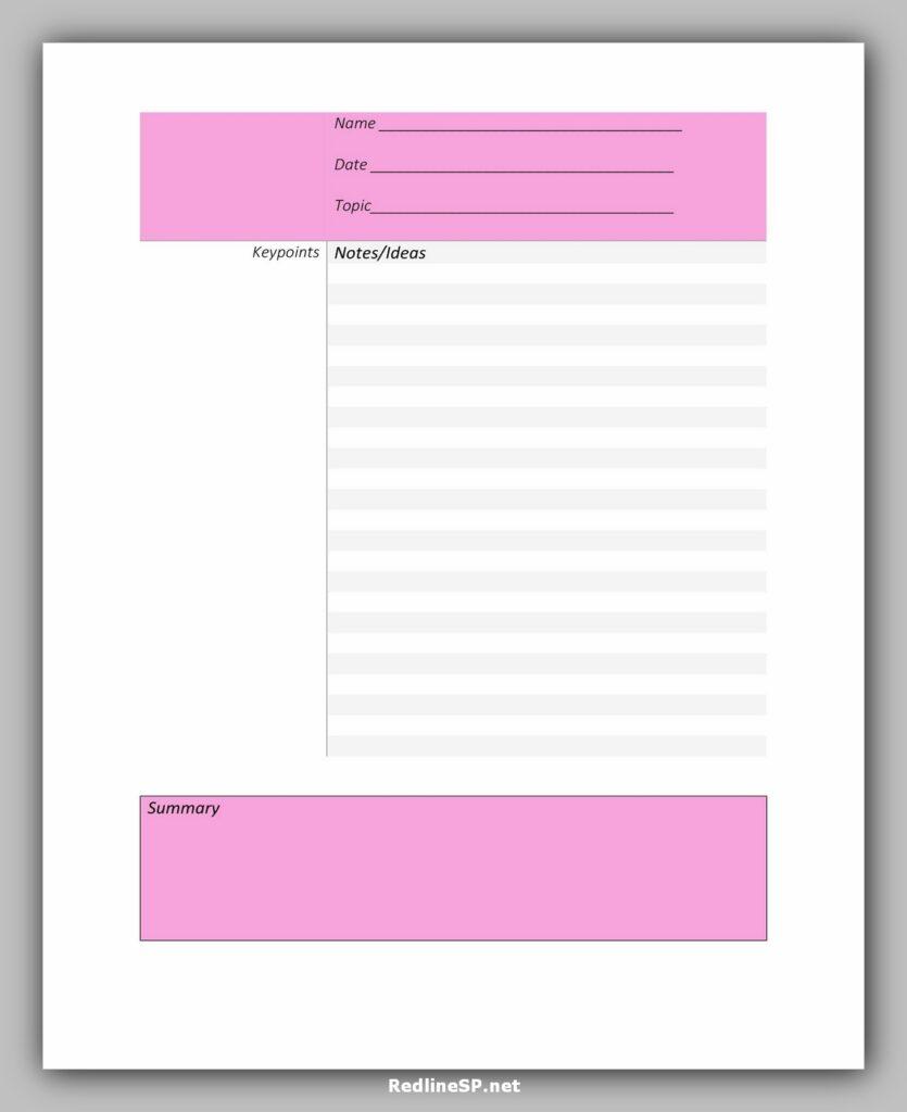 cornell note template 38