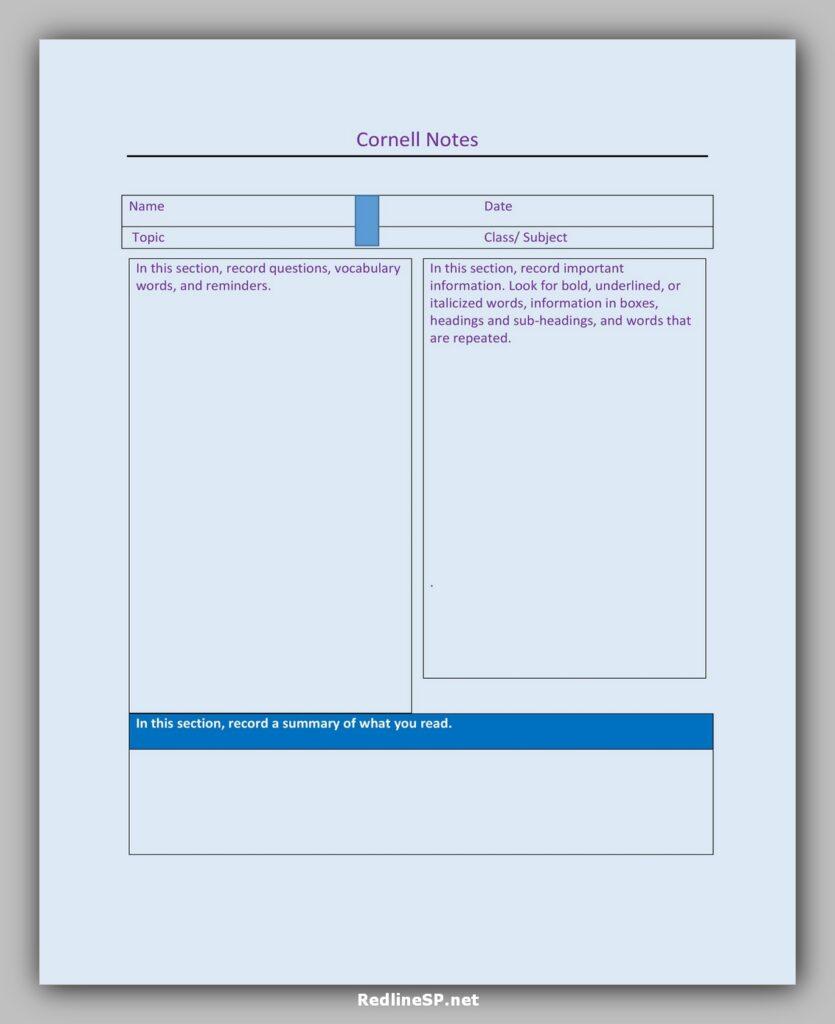 cornell note template 39
