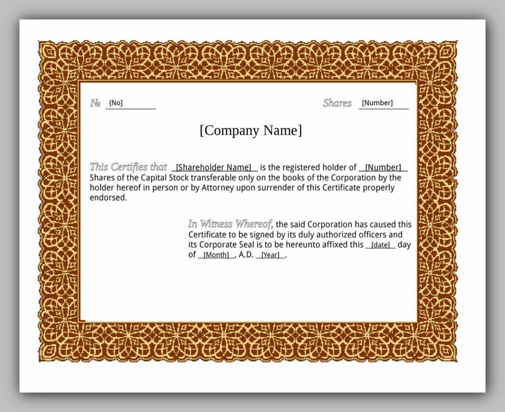 share certificate template 02