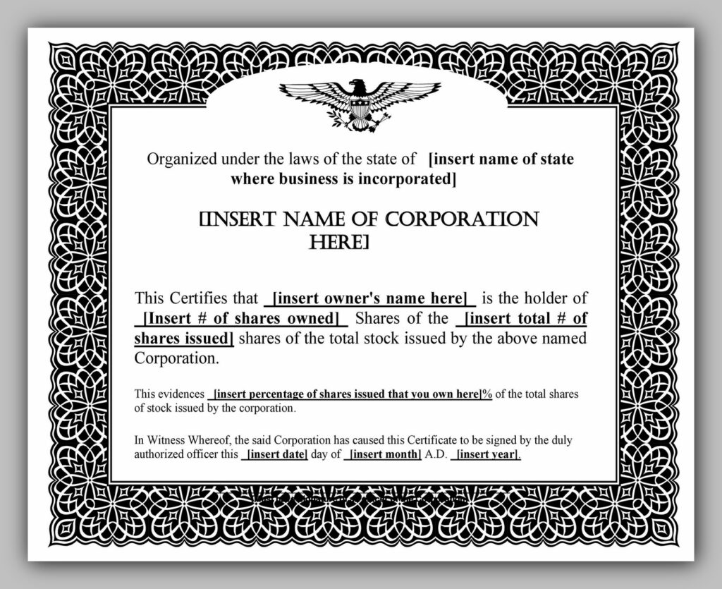 share certificate template 03