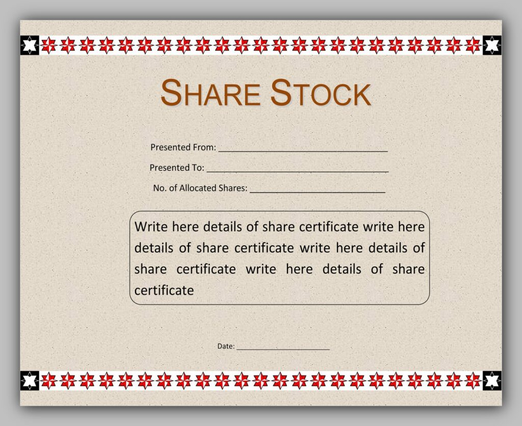 Printable Share Certificate Template