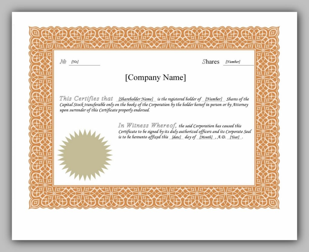 share certificate template 07