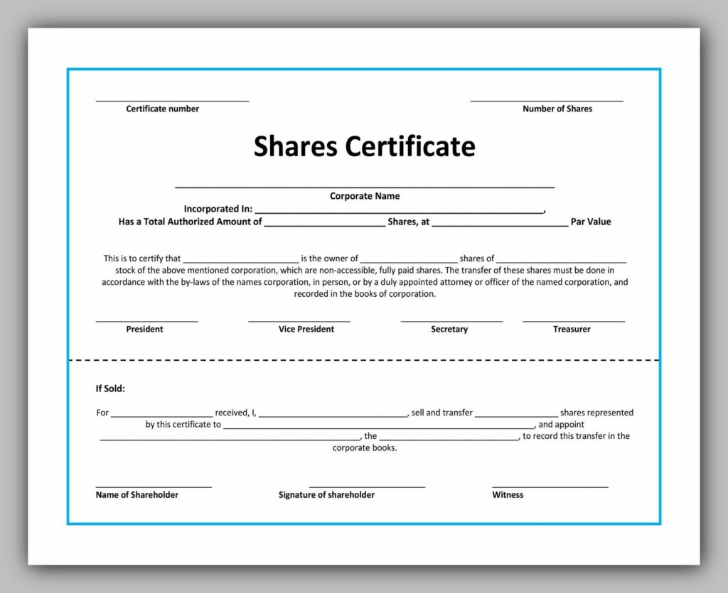 share certificate template 10