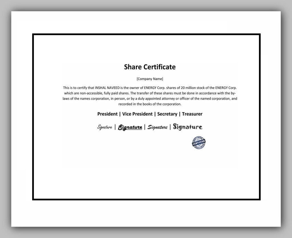 Share Certificate Template PDF