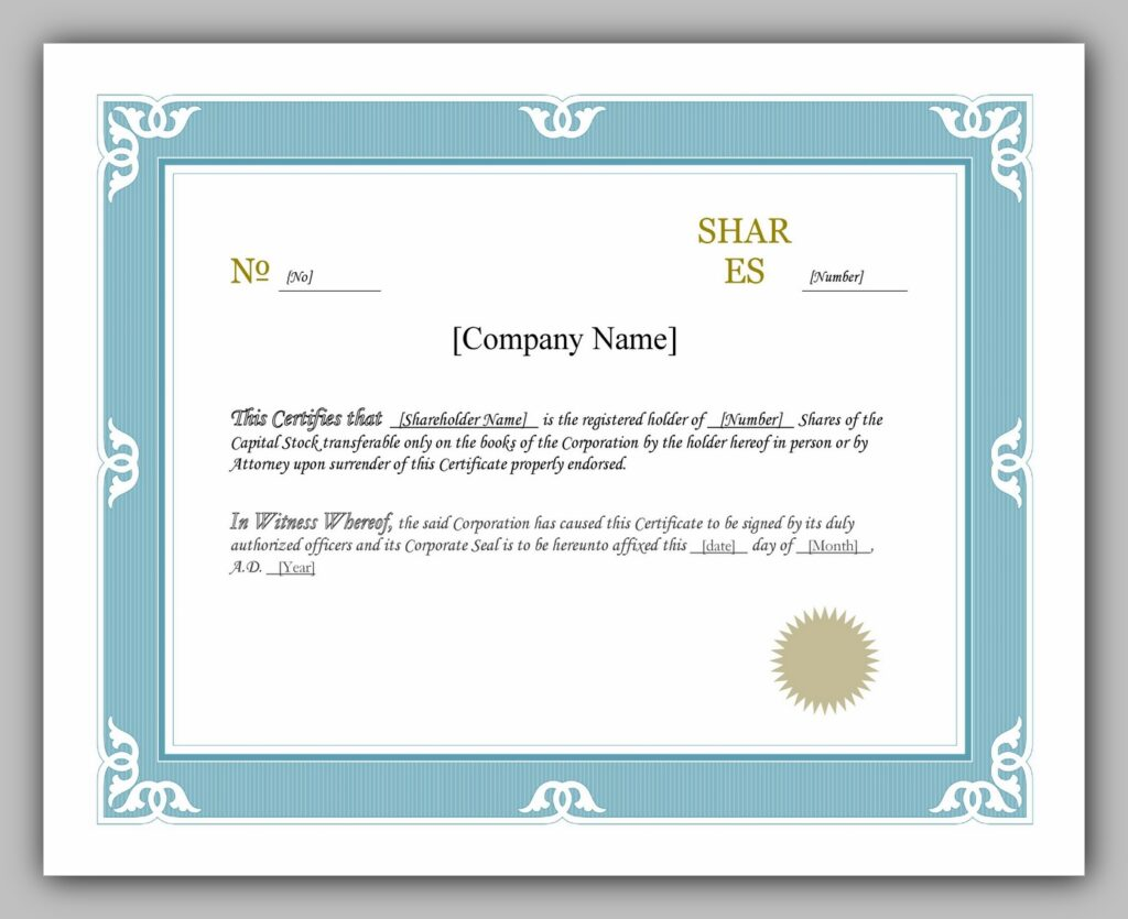 share certificate template 23