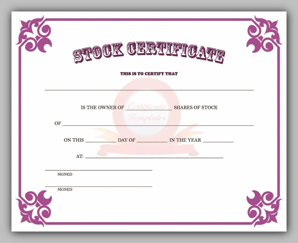share certificate template 25