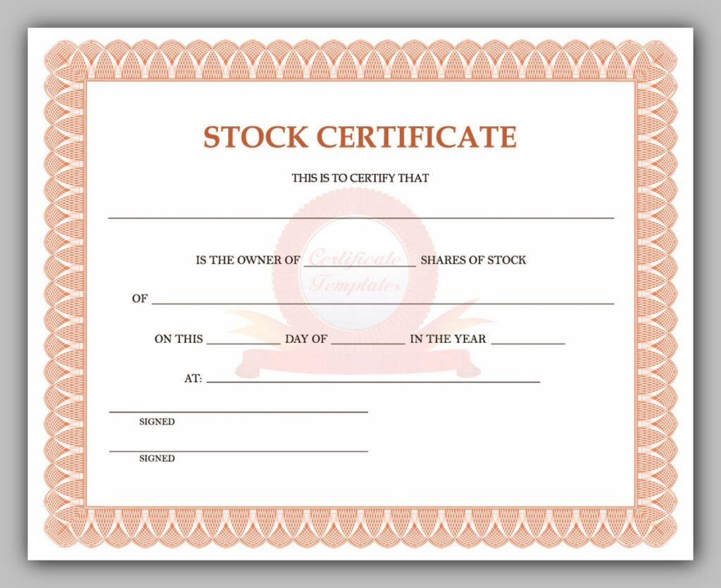 Blank Share Certificate