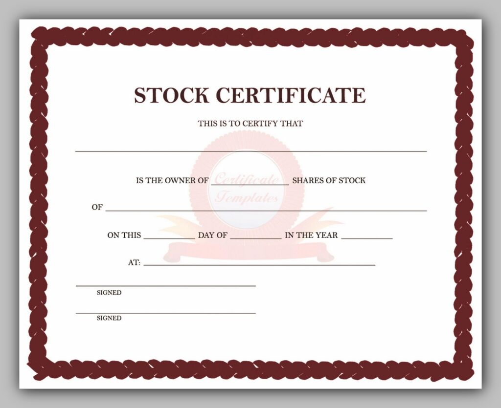 Free Share Certificate Template