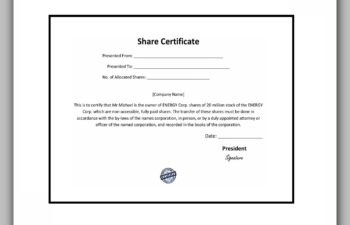 share certificate template 38
