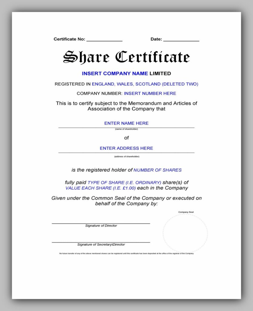 Share Certificate Template Excel