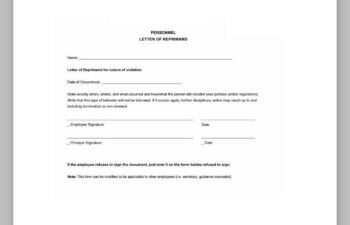 letter of reprimand template
