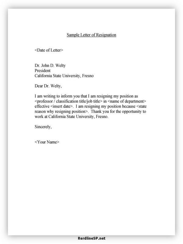 Teacher Resignation Letter Sample 01