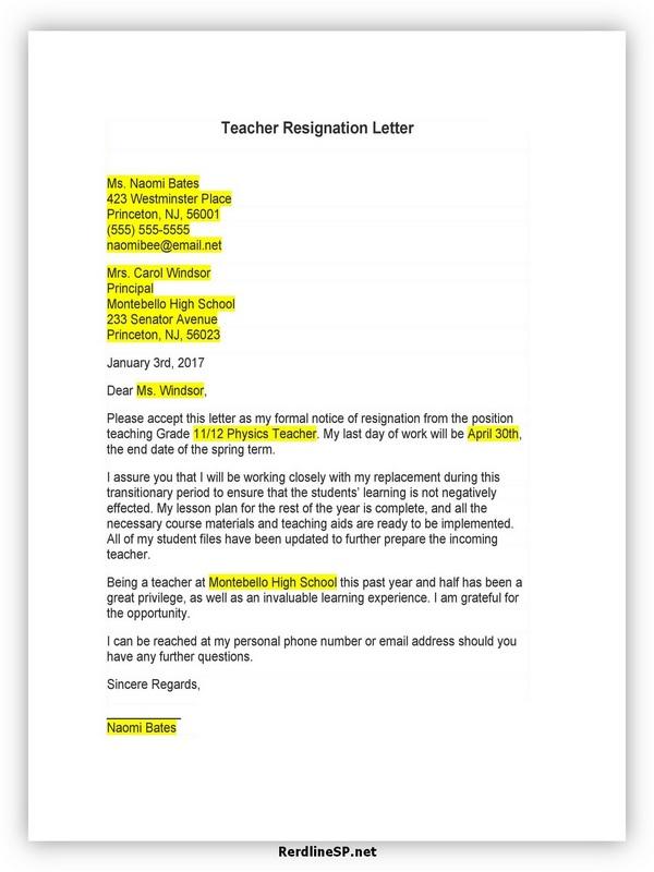 Teacher Resignation Letter Sample 02