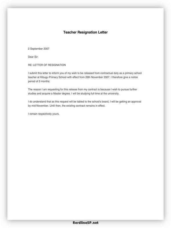 Teacher Resignation Letter Sample 03