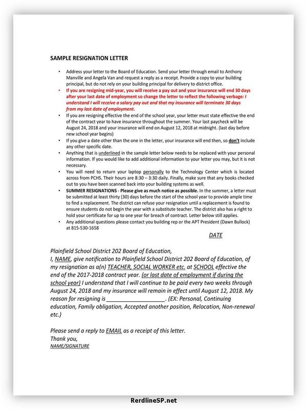 Teacher Resignation Letter Sample 04