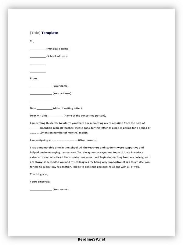 Teacher Resignation Letter Sample 06