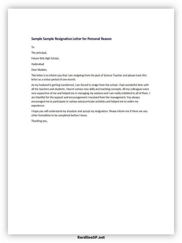 Teacher Resignation Letter Sample 07