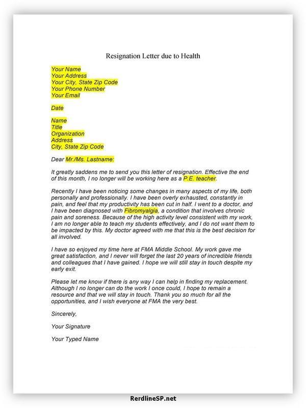 Teacher Resignation Letter Sample 09