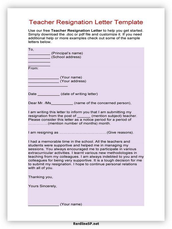 Teacher Resignation Letter Sample 11