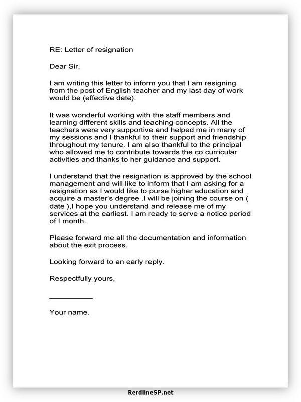 Teacher Resignation Letter Sample 12