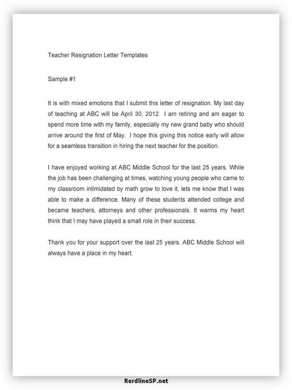 Teacher Resignation Letter Sample 13