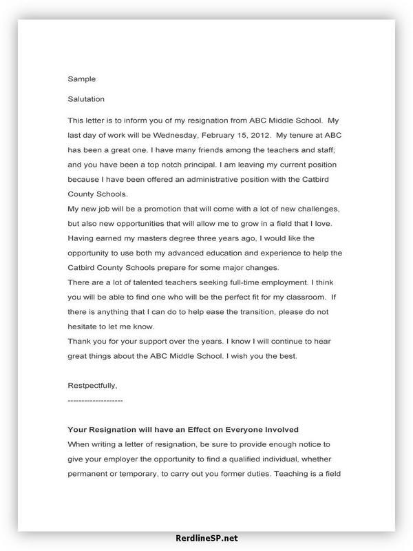 Teacher Resignation Letter Sample 15
